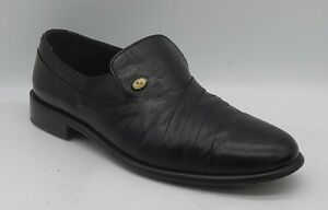 Men's ROMBAH WALLACE Size 8 UK Black Leather Penny Loafers/Shoes Slip On In EUC