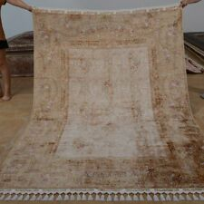 YILONG 5.5'x8' Handknotted Silk Carpet Antistatic Beige Oriental Area Rug 1188