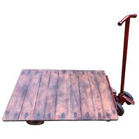 English Vintage Railway Willmot Trolley Oak Iron Plank Top Coffee Wheel Table