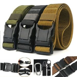 Men Quick Release Buckle Military Trouser Belt Army Tactical Nylon Webbing UK