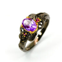 Amethyst Ring 925 Sterling Silver Size 8.75 /RF19-0024