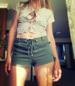All That Remains Australian Forest Cotton 70s Tarzan Jane Style Lace Up Shorts