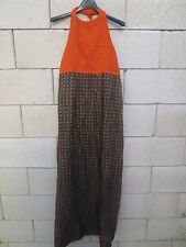 Robe longue VINTAGE années 70 dress orange marron coeur seventies 38