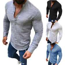 Men's Slim Fit V Neck Cotton Linen Muscle Tee T-shirt Casual Tops Henley Shirts