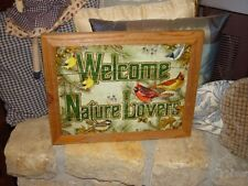 Custom Framed Welcome Nature Lovers Man Cave Solid Cedar Metal Sign Weathered