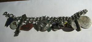 Vintage Sterling Silver Charm Bracelet Travel, Enamel, Disney, England, Spinners