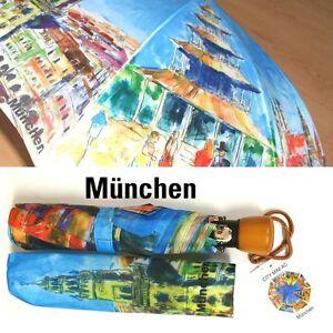 """Taschen Regenschirm """"München gemalt"""" Holzknauf, Automatik, Neuware"""