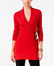 INC International Concepts  Red  Faux-Wrap Long Sleeve Tunic Sweater Large