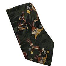 VICCINI Green Looney Tunes Bugs Bunny 100% Silk Novelty Tie Cartoon