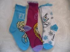 3 PACK DISNEY FROZEN  CREW SOCKS/LACE EDGED SIZE 1-6 FREE POST
