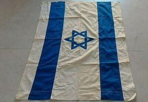 RARE VTG 50'S  SEWN ISRAEL FLAG JUDAICA STAR OF DAVID 100% COTTON 98cm x 75cm