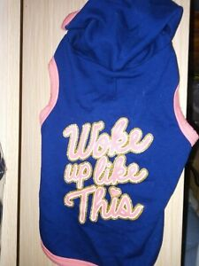 NEW PINK AND NAVY XS DOG HOODIE, WITH WOKE UP LIKE THIS ON BY WAG-A-TUDE.