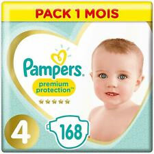 Pampers Premium Protection Taille 4, 168 Couches 9-14kg Pack 1 Mois