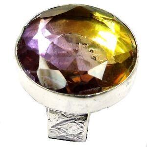 60.50Cts Ametrine Topaz Gemstone Silver Overlay Handmade Ring US Size 7