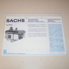 Typenblatt / Technische Daten Sachs Rasenmäher Motor SB 93 - Stand 1976!