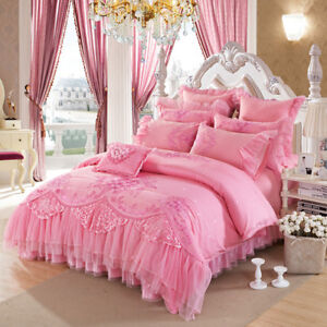 Luxury Romantic Satin Princess Ruffled Cotton Jacquard Pink Red Duvet Cover Set