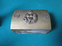CHINESE BUDDHA ANTIQUE WOOD LINER METAL BRASS COFFER  BOX 2 1/2 X 5 X 3 1/2""