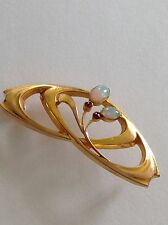 Pretty Art Nouveau 9ct Gold Opal & Ruby Set Brooch - Circa 1900