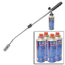 Butane Gas Weed Wand Blowtorch Garden Torch Weeds Killer Burner + 4 Gas Bottles