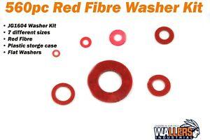 JG1604 560 pcs Red Fibre Washer Assorted  Kit -  M2, M3, M4,  M5, M6, M8, M12