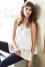NEXT White Knit Lace up Sleeveless Vest Top Frill Trim Size 12