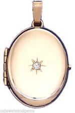 New 14k Yellow Gold 4 Photo Oval & Diamond Locket Pendant Charm
