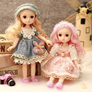 10 Inch BJD Doll Makeup Dress Up Brown Eyeball Doll Fashion Dress for Girls Toy