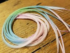 "12"" Feather hair extensions tie dye pastel solids mint baby blue lt pink beads"