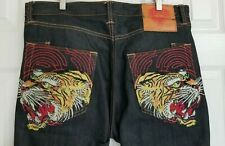 Ed Hardy Mens Jeans Button Fly Size 36 x 34 Tiger Head Embroidered