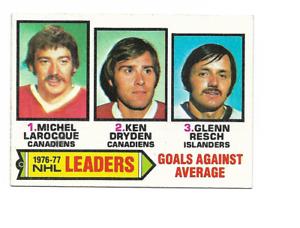 1977-78 Topps #6 Goals Against Average Leaders Larocque / Ken Dryden / Resch