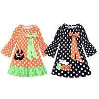 Toddlers Baby Girl Long Sleeves Halloween Dress Princess Polka Dot Pumpkin Cloth