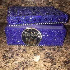 Rare Blue Beaded MADE IN INDIA Storage/ Jewelry Box