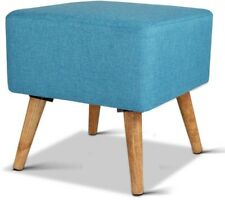 Linen Square Foot Stool Blue