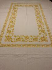 "William Sonoma Table Cloth Jacquard White Yellow Cotton 106"" X 70"" Rectangular"