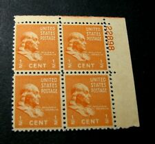 US Plate Blocks Stamp Scott# 803 Franklin 1938  MNH  L376