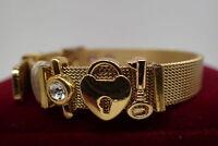 18K Yellow gold Solid Diamond Heart padlock Key Mesh women Men bracelet 8' 20cm
