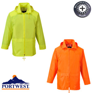 Rain Jacket Waterproof Portwest Work Coat Hooded Zipped Breathable Kagoul Mac
