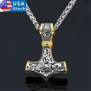 Men's Stainless Steel Gold Silver Norse Viking Thor Hammer Pendant Necklace