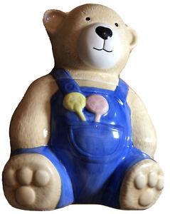 Vintage Ceramic Teddy Bear Shaped Cookie Jar/barrel. VGC. Never Used.