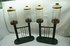 VINTAGE CANDLE HOLDERS LAMPS PAIR OF DOUBLE LIGHTS METAL GLASS SHADES BRASS LIDS