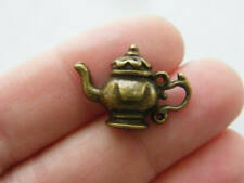 8 Teapot charms antique bronze tone BC117