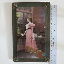 1800's Antique Irish VICTORIAN Photo hand colored ornate metal clovers Frame