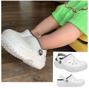 Crocs classic lined slip on clogs white gray infants Children Size 4