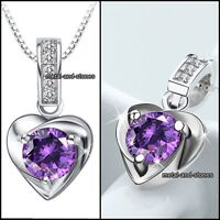 XMAS GIFTS FOR HER Amethyst Purple Crystal Stone Heart Necklace Love Wife Women