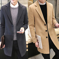 UK Men Slim Trench Coat Long Single Breasted Overcoat Lapel Jacket Parka Outwear