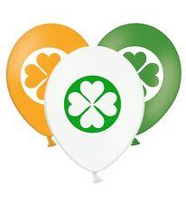 "Irish Clover Shamrock St Patrick Day - 12"" Printed Latex Balloons Asst 5 ct"