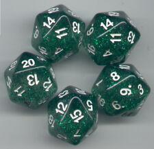 RPG Dice Set of 5 D20 - Glitter Green