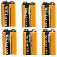 6 x DURACELL INDUSTRIAL 9v PP3 MN1604 BLOCK ALKALINE BATTERIES REPLACES PROCELL