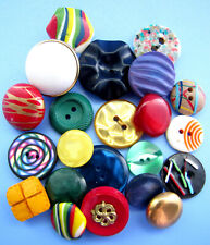 Vintage Lot Theme Buttons THE 1980's Casein Dyed MOP Red Blue Green Yellow Black