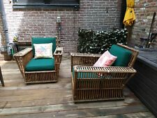 Pair of Vintage style California Rattan Wicker Porch Chairs w Sunbrella Cushions